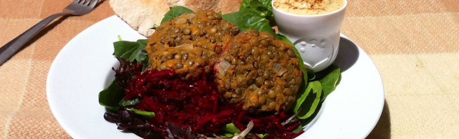 Lentil and Pumpkin Patties served with Hummus and Salad