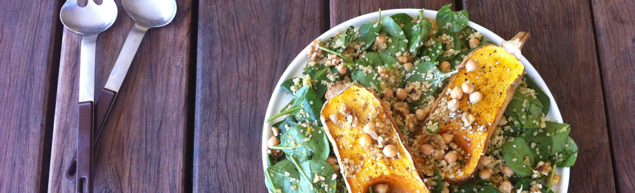 Roast Pumpkin, Spinach and Quinoa Salad with Orange Balsamic Dressing