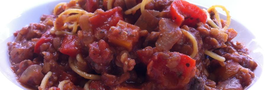 Red Lentil SpaghettiBolognese